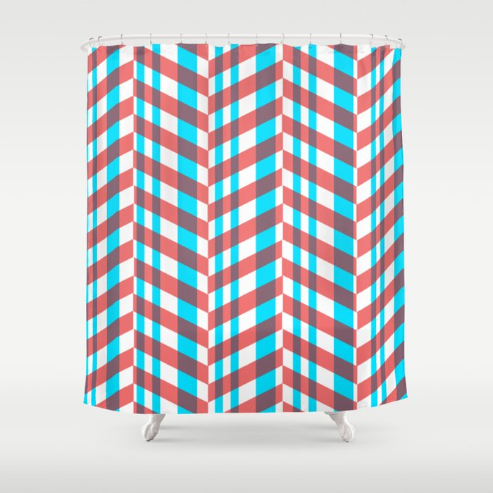 Red Blue Lines Pattern Shower Curtain