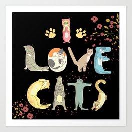 I love cats cute print Art Print