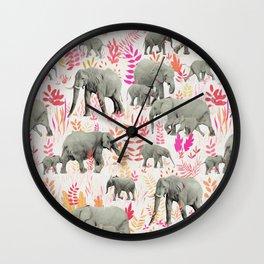 Sweet Elephants in Pink, Orange and Cream Wall Clock