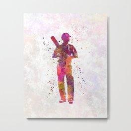 Cricket player batsman silhouette 10 Metal Print