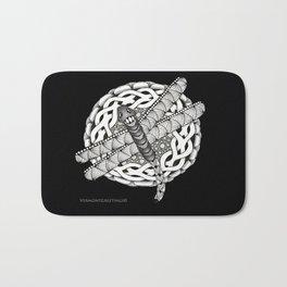 Zentangle Dragonfly Black and White Illustration Bath Mat