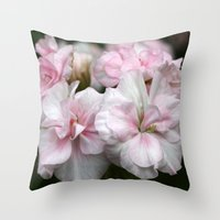 abigail larson Throw Pillows featuring Pelargonium Dreams - Princess Abigail by Martina Cross Foto & Kalenderdesign