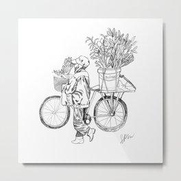 Bicycle Flower Seller in Hanoi in Pencil Metal Print