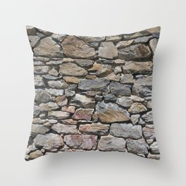 Stone wall of ghost town Throw Pillow