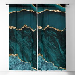 Teal Blue Emerald Marble Landscapes Blackout Curtain
