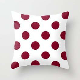 Large Polka Dots - Burgundy Red on White Throw Pillow