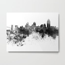 Cincinnati skyline in black watercolor Metal Print