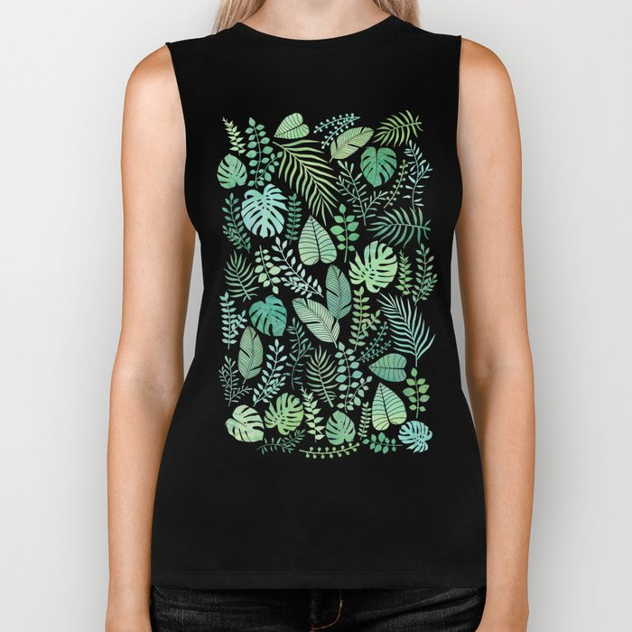 Green tropical leaves pattern Biker Tank