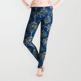 Elegant Blue and Gold Damask Pattern Leggings