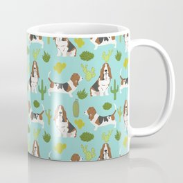 Basset Hound cactus cute mint pet portrait dog art must have gifts for basset hound owners fur baby Coffee Mug