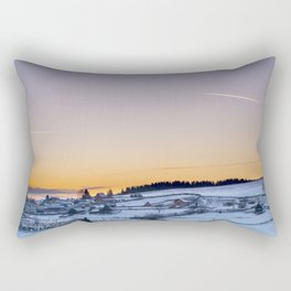Winter landscape, sunset, village Rectangular Pillow