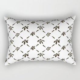 Floral Geometric Pattern Black and White Rectangular Pillow