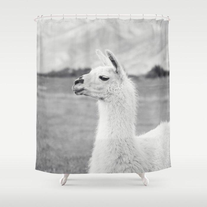 Mountain Llama Shower Curtain