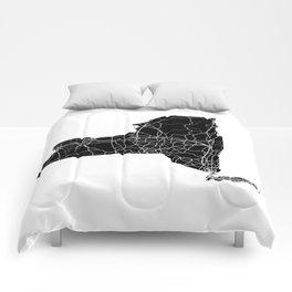 New York Black Map Comforters