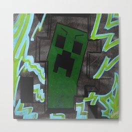 8bit Creeper Spray Painting Metal Print