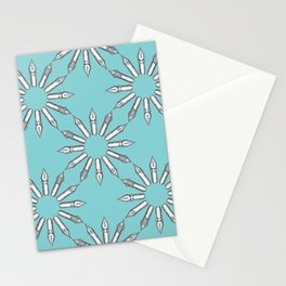 Dip Pen Nibs Circle (Lake Blue and White) Stationery Cards