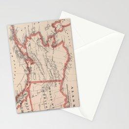 Vintage Map of Alaska (1883) Stationery Cards