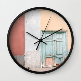 Blue Door In Colorful Street Photo   Houses Of Spain Art Print   Tenerife Island Travel Photography Wall Clock
