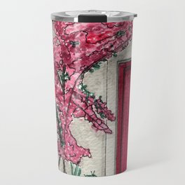Little Pink Door surrounded by a Pink Bougainvillea Travel Mug