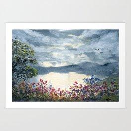 Lakeside Blooms Art Print