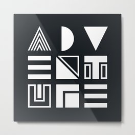 Adventure Shapes B&W Metal Print