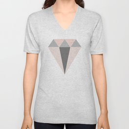 Geometric Diamond in Pink and Gray Unisex V-Neck
