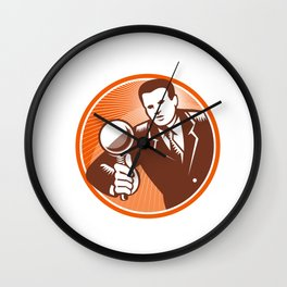 Businessman Holding Looking Magnifying Glass Woodcut Wall Clock