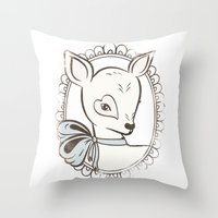 bambi Throw Pillows featuring BAMBI by TOO MANY GRAPHIX