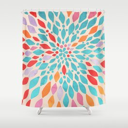Radiant Dahlia - teal, orange, coral, pink watercolor pattern Shower Curtain
