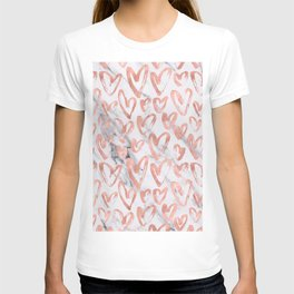 Hearts Rose Gold Marble T-shirt