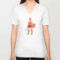 gladiator V-neck T-shirts featuring gladiator roman centurion warrior standing by retrovectors
