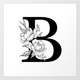B botanical monogram. Letter initial with peonies Art Print