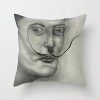 salvador dali Throw Pillows featuring Salvador Dali by Jennifer Lynn