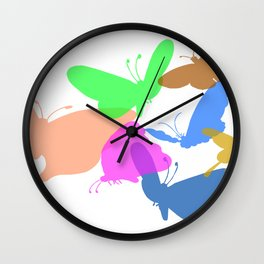 Colorful butterflies on white background Wall Clock