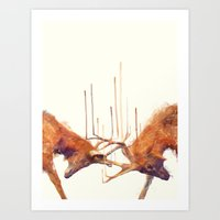 strong Art Prints featuring Stags // Strong by Amy Hamilton
