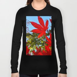 Red Leaf in Focus against the Blue Skies Long Sleeve T-shirt