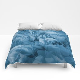 Midnight Blue Petal Ruffle Abstract Comforters