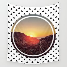 Peel sunset - small triangle graphic Wall Tapestry