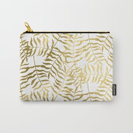 Gold Leaves on White Carry-All Pouch