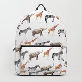 Animals, Elephant, Giraffe, Zebra, Zoo, Kids, Nursery, Minimal, Pattern, Modern art Backpack