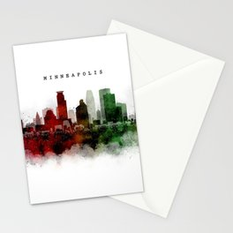 Minneapolis Watercolor Skyline Stationery Cards