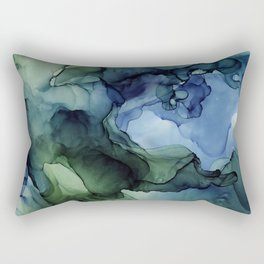 Blue Green Waves Abstract Ink Painting Rectangular Pillow