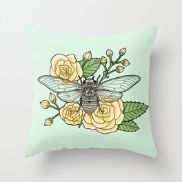 Cicada with Roses - Mint Throw Pillow