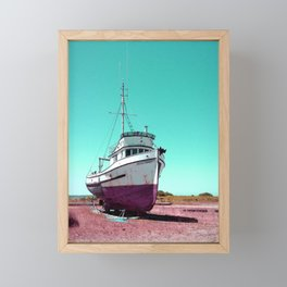 Wooden Boat Troller Fishing Oregon Coast Framed Mini Art Print