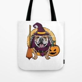 Witch Bulldog Dog Costume For Spooky Halloween Tote Bag