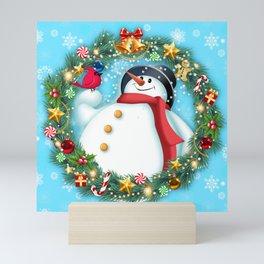 snowman and pal Mini Art Print