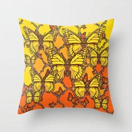 YELLOW & ORANGE MONARCH BUTTERFLIES ART Throw Pillow
