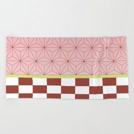 nezuko pattern Beach Towel