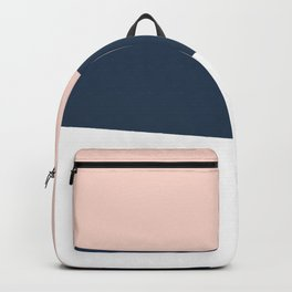 Modern minimal abstract geometric navy blue & pink Backpack