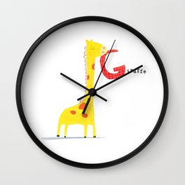 G is for Giraffe Wall Clock